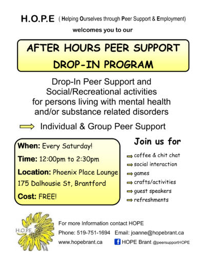 H O P E After Hours Peer Support Drop- in Program | CMHA