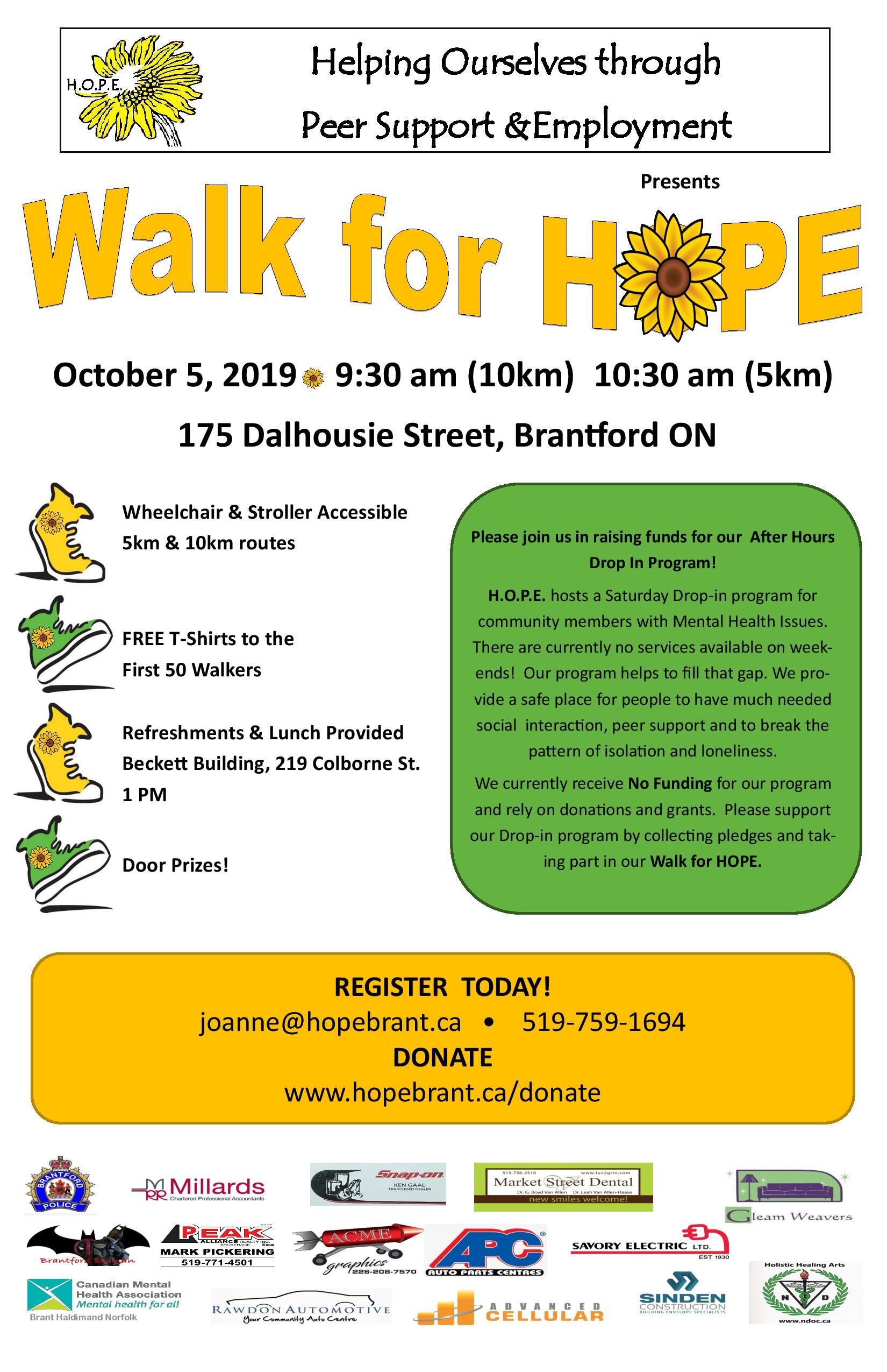 Walk for HOPE, Saturday, October 5, 2019 | CMHA Brant